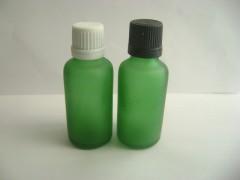 30ml绿色蒙砂精华液瓶配滴塞塑料垃圾v绿色盖白色打捞网图片